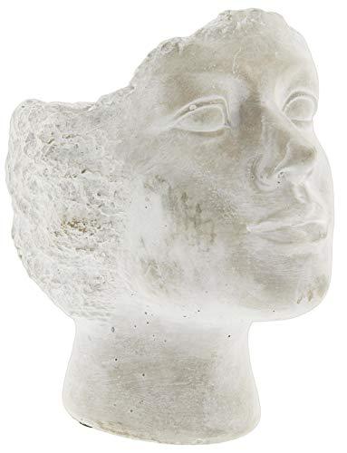 Whitewashed Cement Stone Statue Head Planter (9.5')