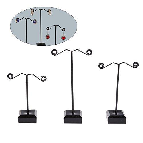 Tinksky 3 Stück Metall Ohrringhalter Ohrringe Organizer Schmuck Display Ständer T-Ständer für Ohrstecker baumelnde Kreolen Ohrringe (schwarz)
