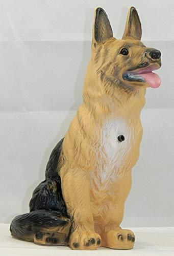 OM Deko Garten Figur Tierfigur Schäferhund groß mit Bewegungsmelder wau-wau aus Kunststoff Höhe 38 cm