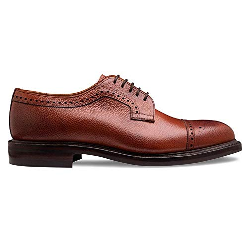 Cheaney Tenterden II Capped Derby Brogue in Mahogany Grain Leather 10.5 Medium