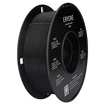 Filament PETG 1.75mm PETG Black, ERYONE PETG Filament for 3D Printer, 1KG, 1 Spool (Black)