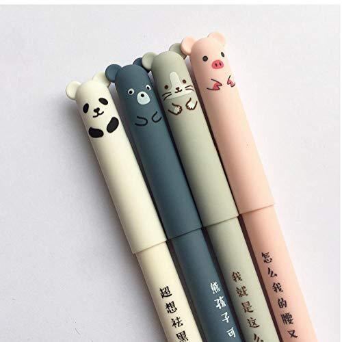 Cartoleria Regalo 4pcs 0,35 Millimetri Black Ink Pen Kawaii Maiale Bear Cat Mouse Cancellabile Penna Del Gel Ufficio Scolastico