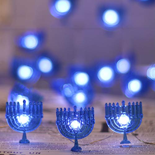 JASHIKA Menorah Candle Lights, Hanukkah Rope Lights with Star of David Decoration 6.5 feet 20 LEDs Battery Operated with Timer and Remote for Chanukah Festival of Lights