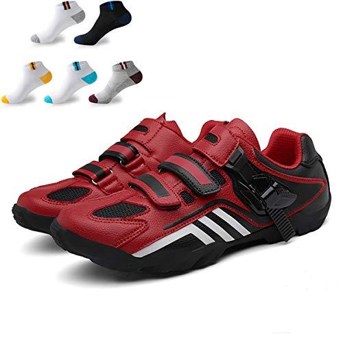 XFQ Zapatos De Ciclo De Los Adultos, Unisex Informal Carretera Bicicleta De Zapatos Anti-Slip No Lock Transpirable Amortiguación Senderismo con 5 Pares De Calcetines Deportivos,Rojo,43EU