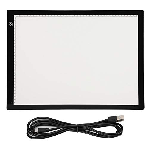 Caja de luz Regulable para Pintar, Mesa de Copia, Interfaz USB acrílico portátil Ligero para proyectos artesanales Diseño de Tela(A3-JC (with Magnetic Edging))