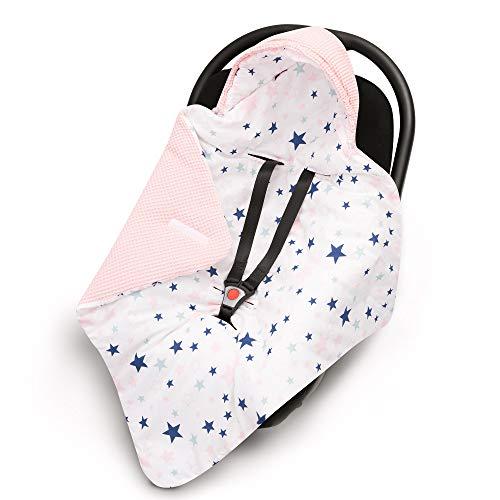 EliMeli EINSCHLAGDECKE für Babyschale Baby Decke für Autositz und Kinderwagen aus Waffelstoff und Baumwolle mit Füllung Babyhörnchen Kinderwagedecke universal z.B. Maxi Cosi (Rosa - Sterne)
