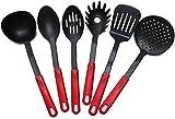 6 Pezzi: 2 Cucchiai da cucina diversi, Contenitore per Utensili da Cucina di Cemento, Paletta, Servispaghetti, Pinza