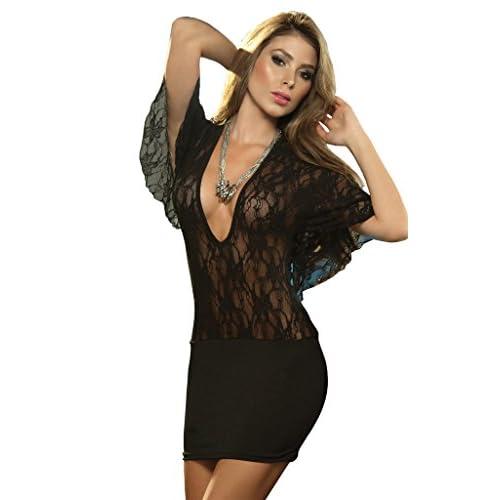 ThreeH Abito Corto con Sexy Lingerie Dress Maniche Sexy del Mini per Le Donne C1595Black