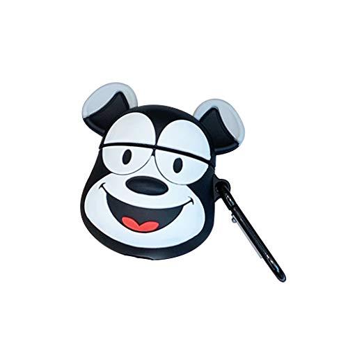 Huyiko - Funda de silicona suave para perro, con mosquetón para kit Airpods 1/2
