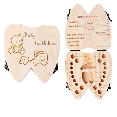 JZK Englische Version, Holz Zahndose Milchzähne Aufbewahrungsbox Haar Zähne Kasten, Geschenk für Junge/Mädchen Babyparty Taufe Geburtstag Babyshower Party