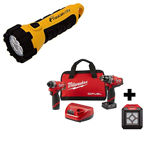 Toucan City LED Flashlight and Milwaukee M12 FUEL 12-Volt Li-Ion Brushless Cordless Hammer Drill and Impact Driver Combo Kit (2-Tool) with Free LED Flood Light 2598-22-2364-20