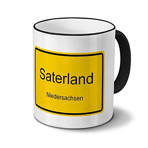 Städtetasse Saterland - Design Ortsschild - Stadt-Tasse, Kaffeebecher, City-Mug, Becher, Kaffeetasse - Farbe Schwarz