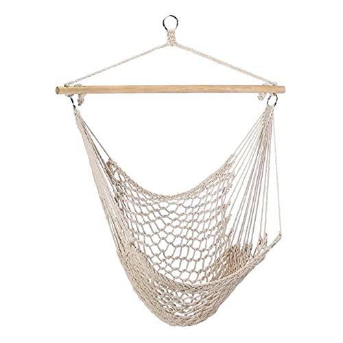 ZLZNX Hamaca de algodón de Exterior para jardín portátil Campaña Tela Cama Cuerdas oscilantes Capacidad 200 kg