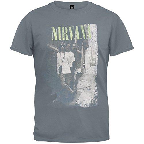 FEA Men's Nirvana Brick Wall Band Photo T-Shirt, Charcoal, Medium