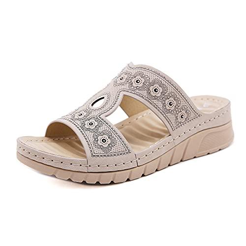 Sandalias informales con punta abierta de cuero antideslizante Muller con tacón de pendiente para mujerConjunto de zapatos de mujer de caña baja plana de pies