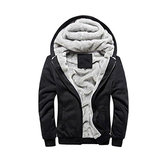 Rocky Sun Men Winter Hooded Jacket Hoodie Faux-Fur Lined Warm Coat Black XL