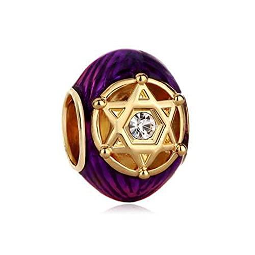 Auténtico Pandora 925 Colgante De Plata Esterlina Diy Cristal Púrpura Dorado En Triángulos Dobles Rayado Estrella De David Pulsera Con Cuentas