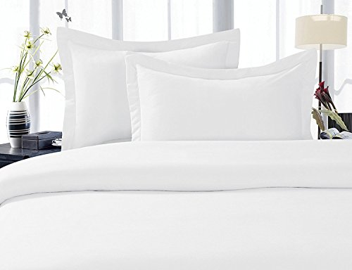 Solid White 300 Thread Count Percale King/Cal king Duvet Cover Set 100 % Egyptian Cotton 3pc comforter cover set with matching pillow shams By sheetsnthings