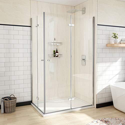 Heilmetz Eckeinstieg Duschkabine Rahmenlos Falttür 80 x 100 x 185 cm Doppelt Duschtür Duschtrennwand Duschwand 6mm ESG Klares Sicherheitsglas