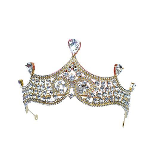 PRETYZOOM Kroon Tiara Hoofdband Strass Kroon Kristal Tiara Headdress Haar Hoop Cake Topper Ornament voor Bruiloft Bruidsverjaardag Party (zilver) Size 1 goud