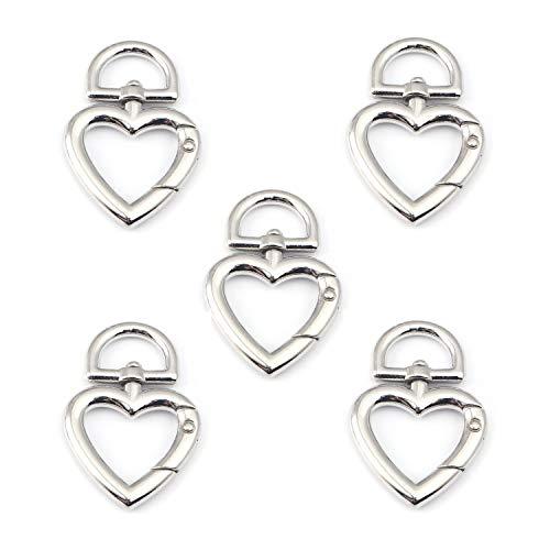 Daoqi 5 STK. Schlüsselringe, Karabiner drehbar als Schlüsselanhänger, Herz groß, ideal für Makramee (Silber)