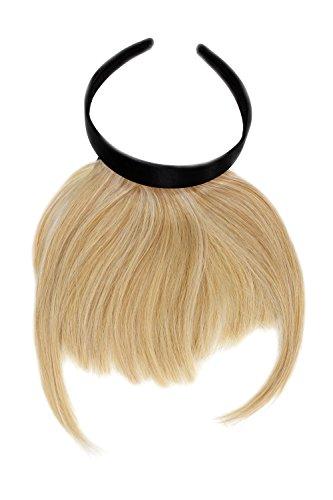 WIG ME UP ® - HA071T-611 Clip-in Pony mit Haarreif und längeren Seitenhaar, besonders natürliche Wirkung, Hellblond (611)