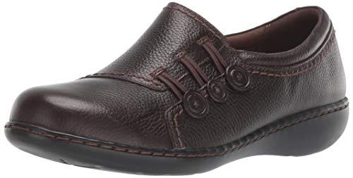 CLARKS Women's Ashland Effie Loafer, Dark Brown Tumbled Leather, 70 W US