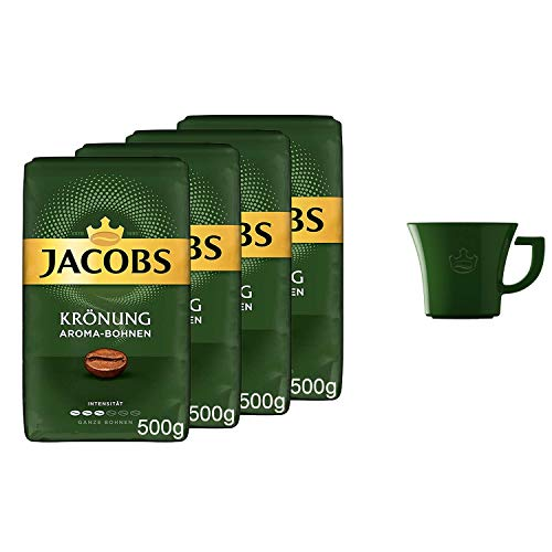Jacobs Kaffeebohnen Krönung Aroma-Bohnen Pack, 4er Pack (4x 500g Bohnenkaffee), Gratis geschenk: Jacobs kaffeebecher
