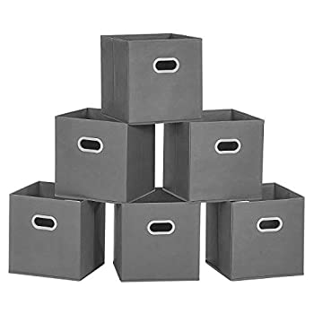 MaidMAX Storage Bins 12x12x12 for Home Organization and Storage Toy Storage Cube Closet Organizers and Storage with Dual Plastic Handles Grey Set of 6