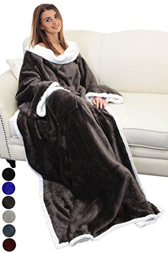 Catalonia TV-Decke Kuscheldecke ganzkörperdecke mit Ärmeln und Taschen zweiseitige Decke Microplush Fleece Sherpa Warme Decken für Erwachsene Frauen Männer Erwachsene 183cm x 140cm, braun