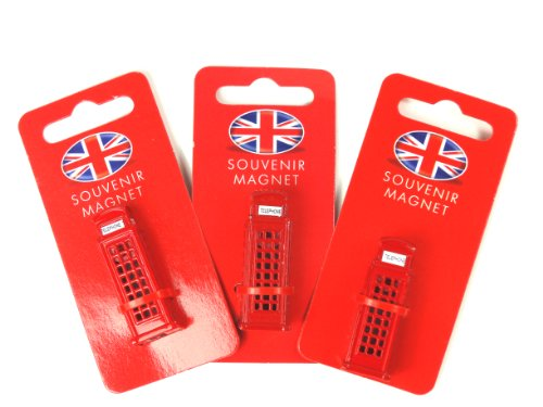 Fridge Magnets Mini-Kühlschrankmagnet 65232, Spritzgussmetall, 3D-Design einer roten Londoner Telefonzelle, 3 Stück