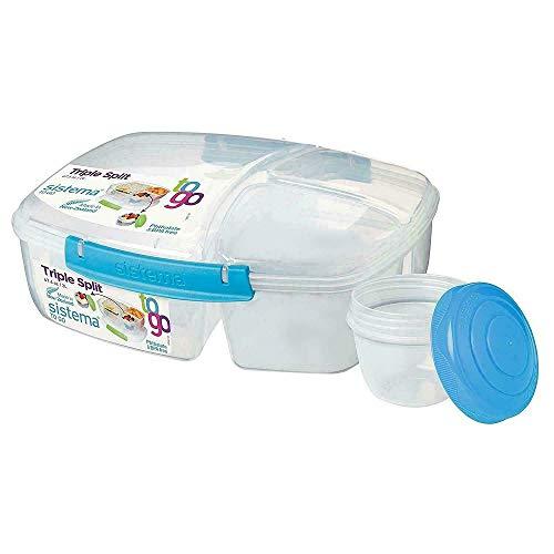 Sistema 4er Pack Lunch Triple Split Lunchbox mit Joghurttopf - 2 Liter, Gemischte Farben