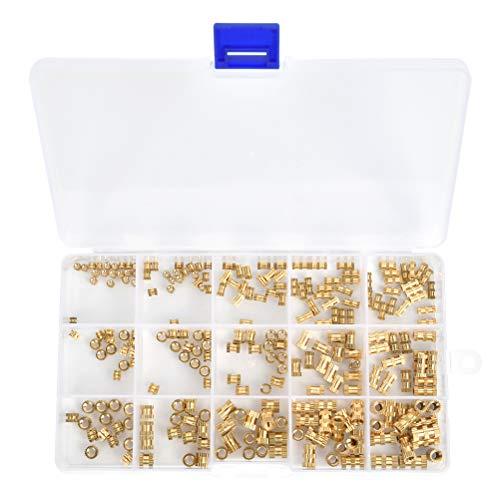 250PCS Gewindeeinsatz Einpressmutter M2 M3 M4 Sortimentskasten Messing Innengewinde Rändelmuttern Einbettung Muttern für Kunststoffteiledurch Wärme