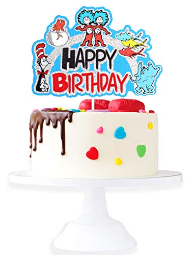 Cartoon Dr. Seuss Happy Birthaday Cake Topper - Baby Shower Adorable Cat In The Hat Glitter Dr. Seuss Cake Décor - Kids Birthday Girls Boys Birthday Party Decoration