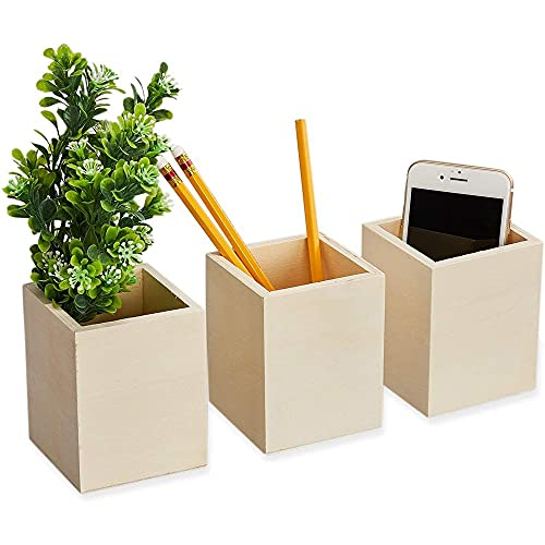 Unfinished Wooden Pencil Holder Stationery Organizer 3 Pack