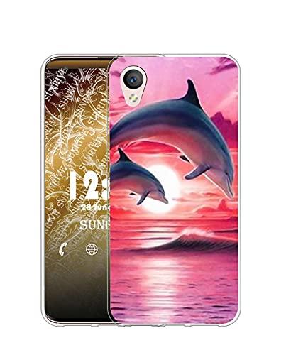 Sunrive Kompatibel mit Alcatel Idol 4/BlackBerry Dtek50 Hülle Silikon, Transparent Handyhülle Schutzhülle Etui Hülle (Q Delfin)+Gratis Universal Eingabestift MEHRWEG