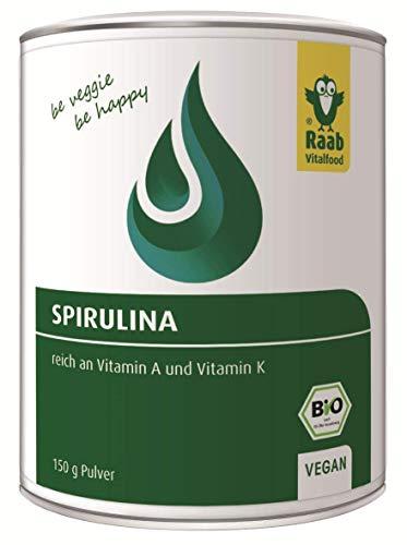 Raab Vitalfood Bio Spirulina-Pulver aus Algen, 150 g, vegan, glutenfrei, mit Eisen und Vitamin A und Vitamin K, laborgeprüft in Deutschland