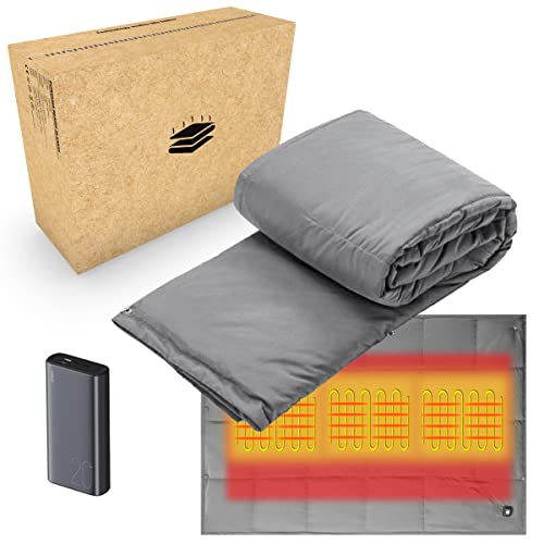 Portable Battery Powered Heated Blanket | Rechargeable Heating Electric Throws for Camping, Outdoors and Travel | Cordless Body Warming Throw Blanket...