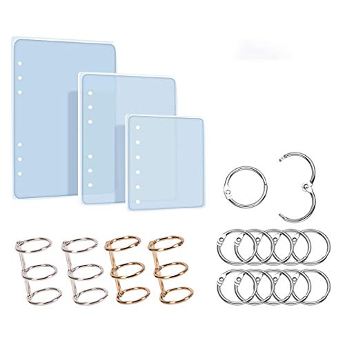 iSuperb 3 Stück Silikonform Epoxidharz Formen Notebook Abdeckung Gießformen Mit Buch Ringe für DIY Notebook Cover A5 A6 A7 (3 Silikonform)