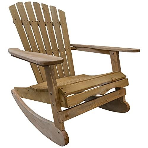 Woodside Rocking Adirondack Chair Outdoor Wooden Garden Patio Furnitu