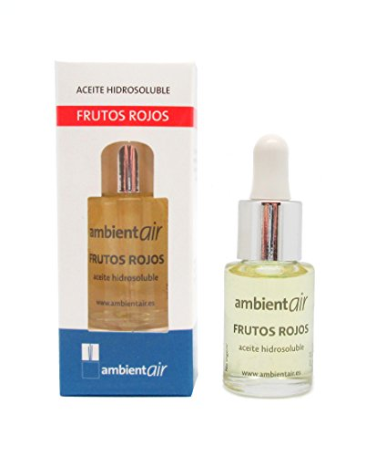Ambientair. Aceite perfumado hidrosoluble 15ml. Aceite hidrosoluble Frutos Rojos para humidificador de ultrasonidos. Perfume de Frutos Rojos para ambientador de vapor de agua. Aceite perfumado sin alcohol.