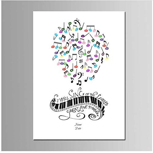 chthsx Klavier Musik Buch für Hochzeitsfeier Dekoration Kinder Events Geschenk Leinwand Malerei -50x70cm Kein Rahmen