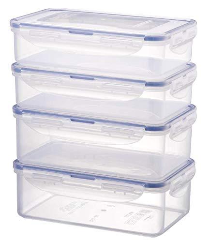 LOCK & LOCK Frischhaltedosen im 4er Set – stapelbare Vorratsdosen aus hochwertigem, transparentem Kunststoff, bpa-frei – auslaufsicher – rechteckig, 2 x 0,8 Liter und 2 x 1 Liter