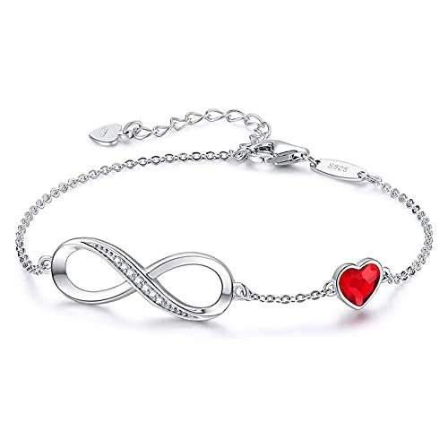 Pulsera infinita para mujer con símbolo de corazón, plata de ley 925 con cristales brillantes de rosegold ajustable, para el día de la madre, regalo de cumpleaños para mujeres, esposa, mamá