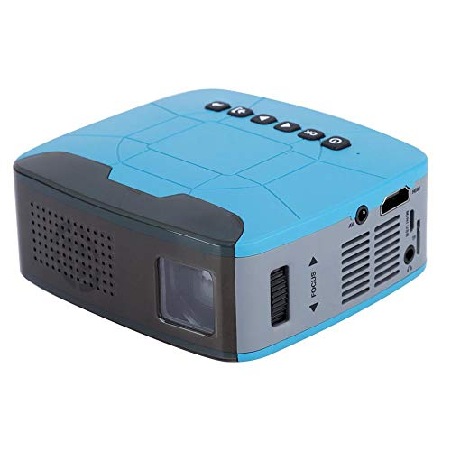 fosa Portable Projector, 500 Lumens LED Video Projector with Optical Trapezium Adjustment Support 1080P Mini Multimedia Projector Ideal for Home Theater Entertainment Games Parties(Blue)