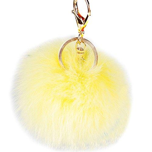 URSFUR Weiche Kleine Fellbommel aus Fuchspelz Schlüssel Anhänger Schlüsselring Auto Schlüsselanhänger - gelb