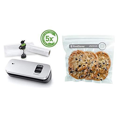 FoodSaver VS1190X - Envasadora al vacío de alimentos compacta con accesorio sellador manual + FVB015X Bolsas para envasador al vacío con cierre tipo zip, 0.95 litros, 0 Decibelios