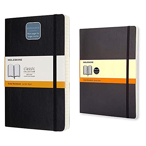 Moleskine cuaderno clásico con páginas rayadas, tapa blanda y goma elástica, color negro + Cuaderno Clásico con Hojas Rayadas, Tapa Blanda y Cierre Elástico