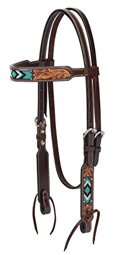 Turquoise Cross Turquoise Beaded Brow Band Headstall