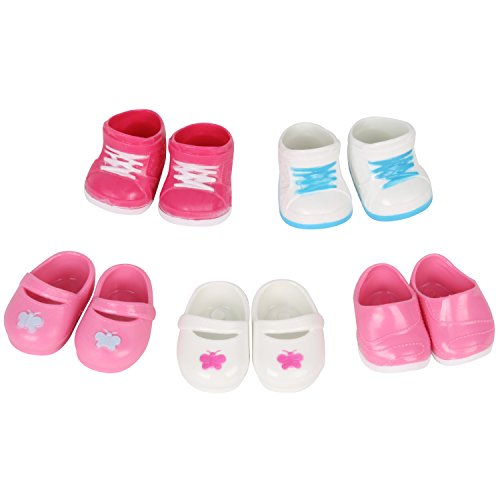 Huang Cheng Toys 5 Pairs of Shoes for 15-16 Inch Doll Toy Boots Sneakers Babouche Sport Shoes